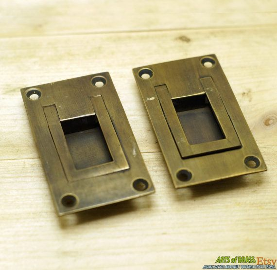 Lot of 2 pcs Vintage Solid Brass Flush Mount Ring Cabinet Door