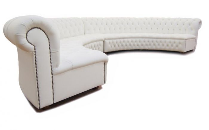 Large Round Curved Sofa Sectional | Themed Furniture Hire: Chesterfield Sofa  Curved White
