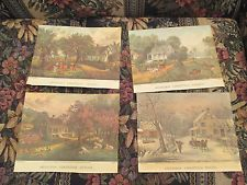 Vintage Currier and Ives Four Seasons Lithographs Prints New York 152 Nassau