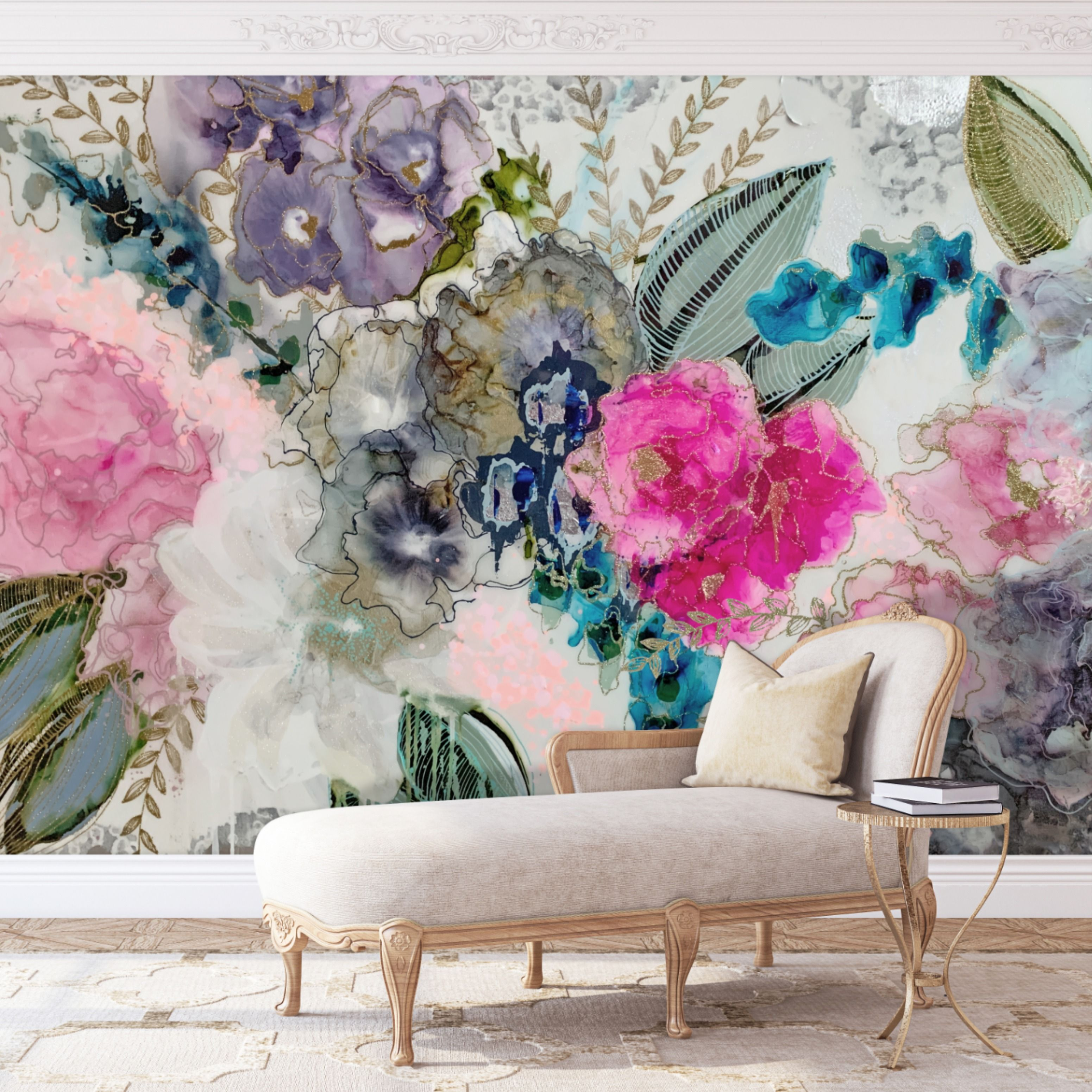 Wisteria Removable Wall Mural Floral Wall Mural Decal Etsy Wall Murals Removable Wall Murals Wall Mural Decals