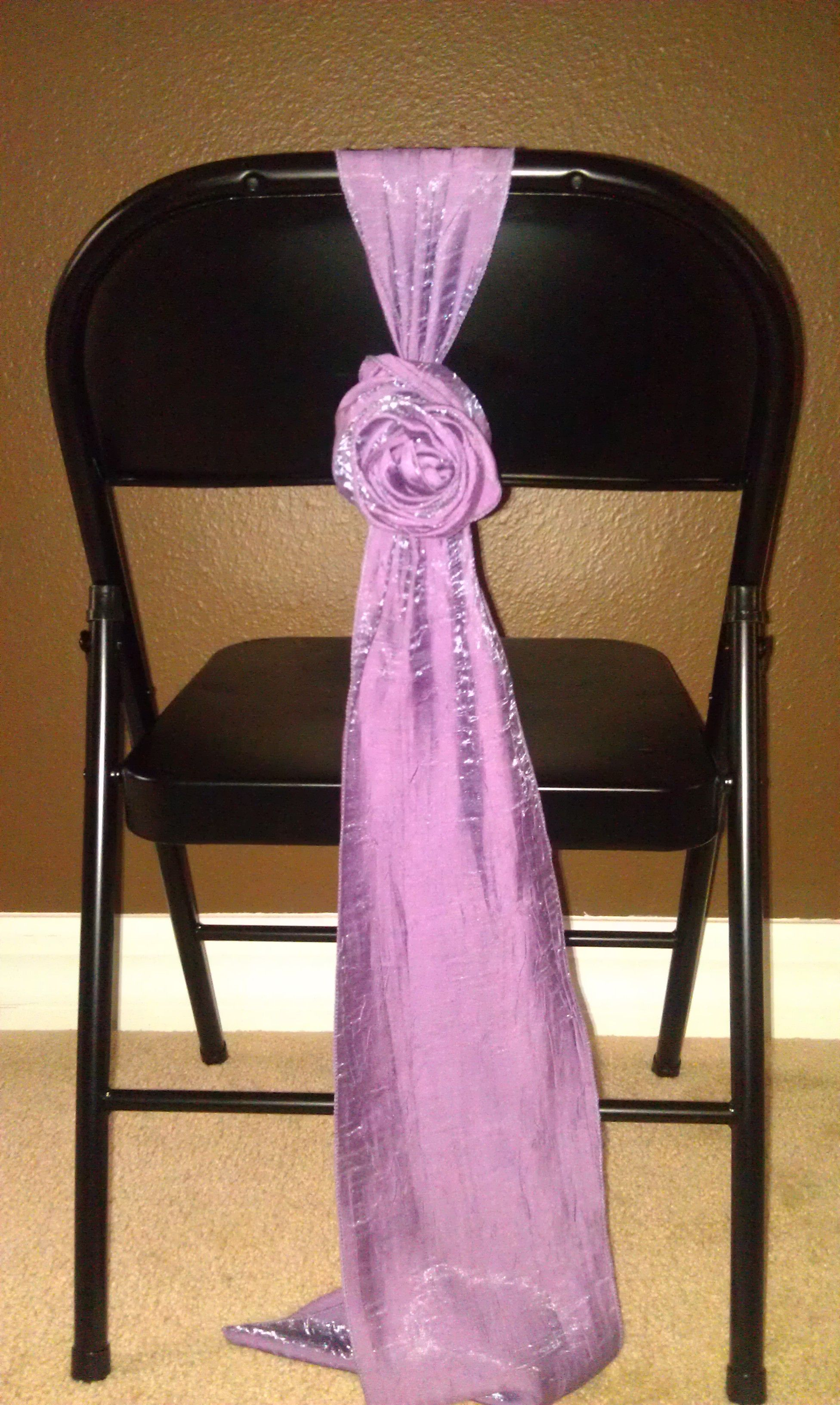 Rose sash tie for metal folding chair without a chair cover