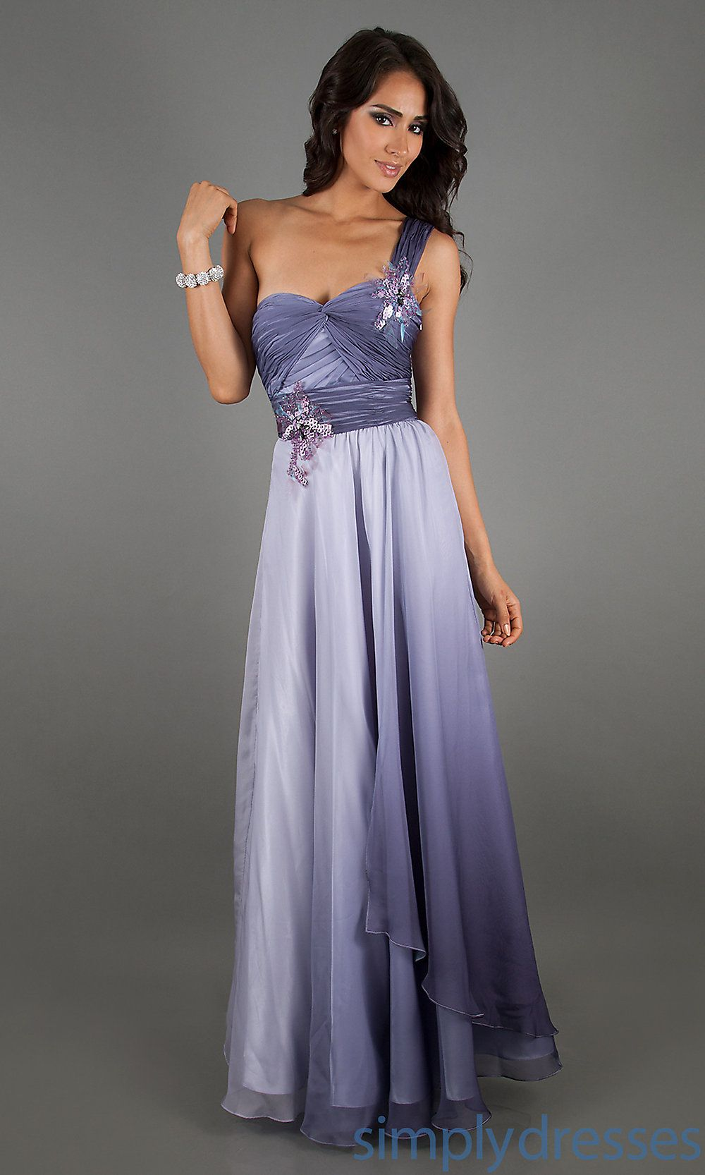 Long Prom Dress, One Shoulder Ombre Evening Gown - Simply Dresses ...
