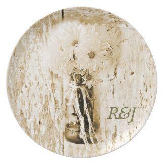 rustic barnwood daisy country wedding dinner plates