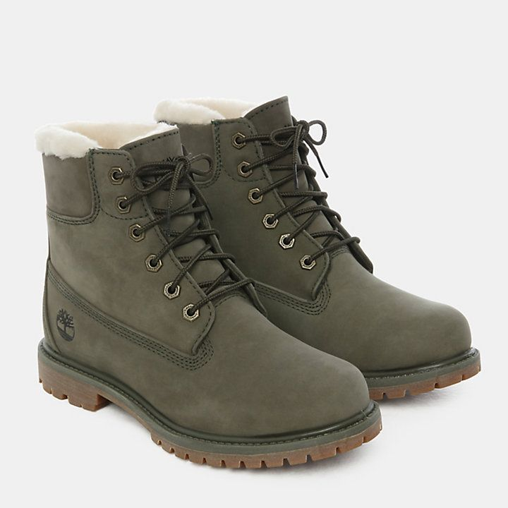 incluir Comercio título  6 Inch Shearling Boot for Women in Dark Green | Timberland | Timberland,  Timberlands, Botas verdes