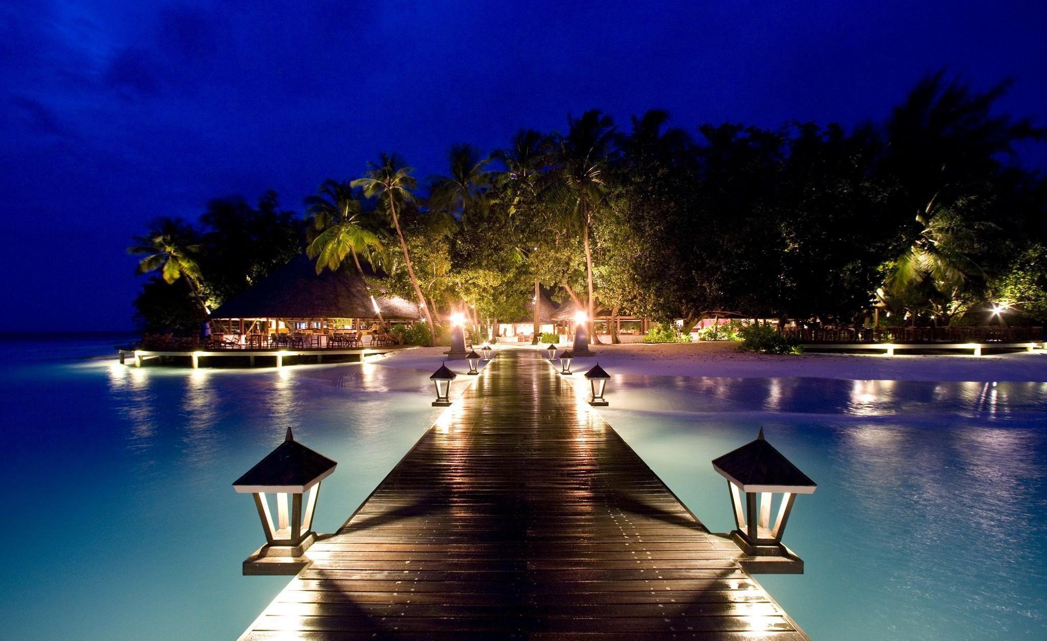 Night Beach Wallpaper Free Ma2 Beach At Night Maldives
