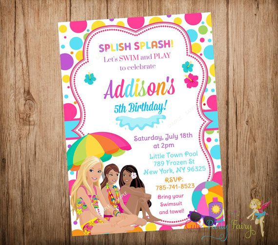 Barbie Pool Birthday Invitation By CutePartyFairy Invitations Party