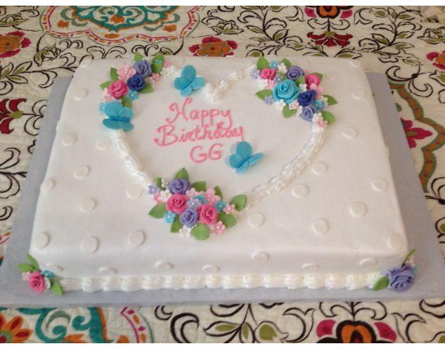 Hearts And Flowers Birthday Cakes Cake Sheet Cake Cake Decorating