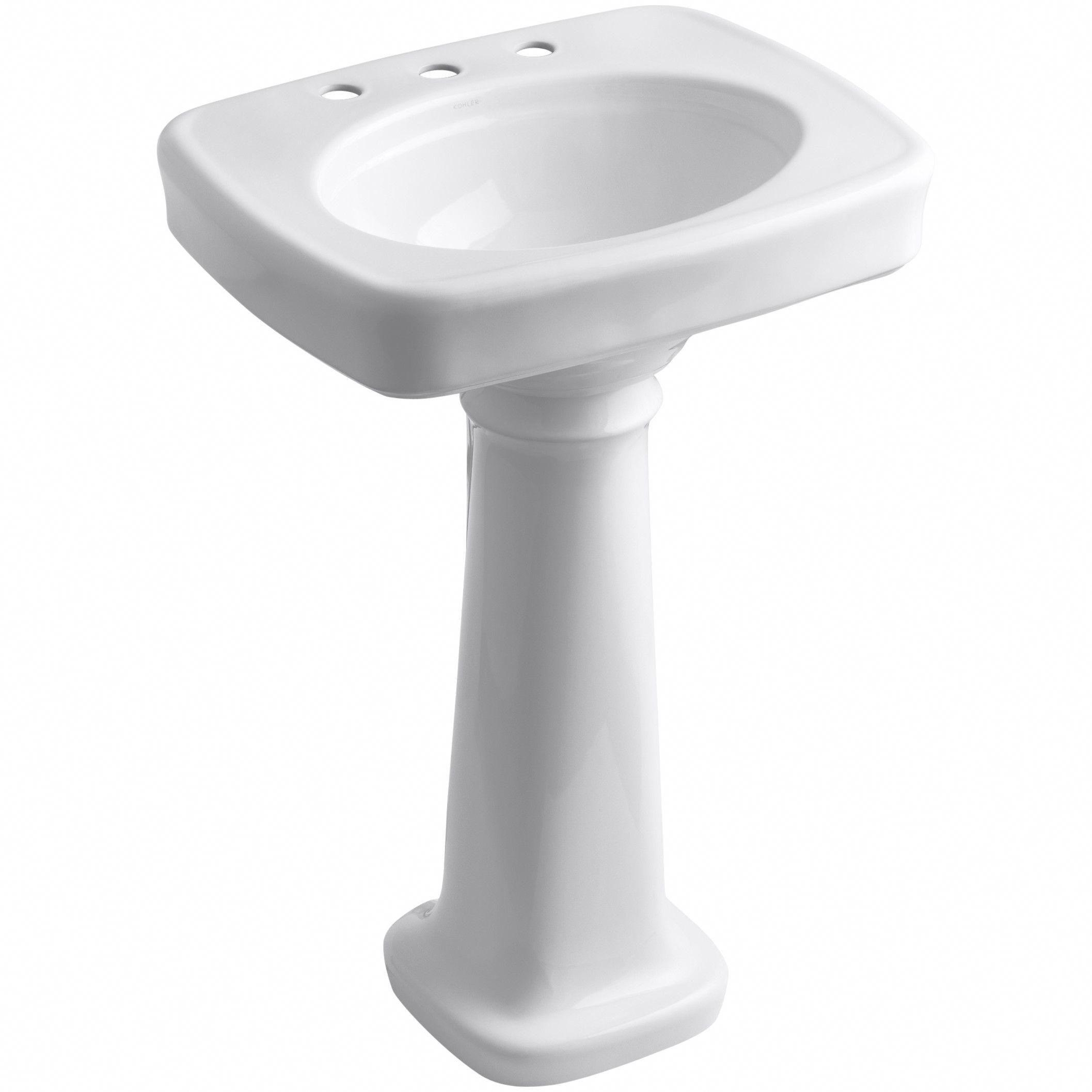 Kohler Bancroft 24 Pedestal Bathroom Sink With 8 Widespread Faucet Holes Reviews Wayfair Bathroomi Rectangular Sink Bathroom Pedestal Sink Bathroom Sink