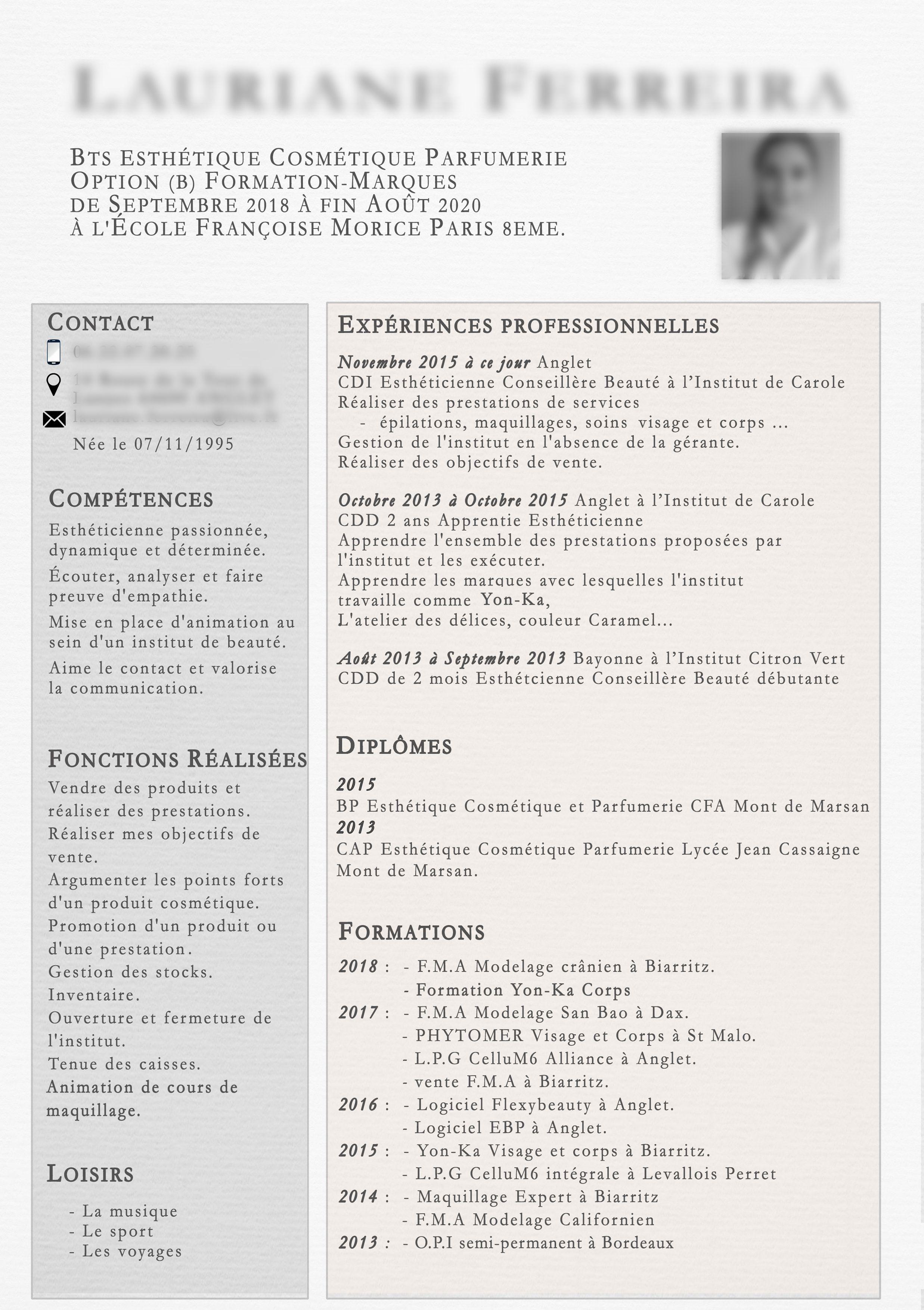 Creation Cv Bts Estheticienne Creation Franck Laforest Estheticienne Creation Cv Soin Visage