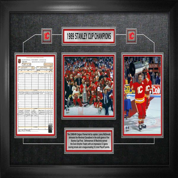 Calgary Flames  Stanley Cup Champions Frame With Nhl Score