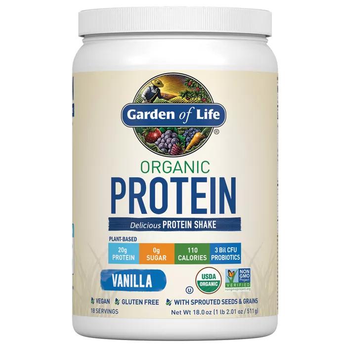 Garden Of Life Organic Vegan Protein Powder Vanilla 18oz Organic Protein Shakes Organic Vegan Protein Powder Organic Meal Replacement Shakes
