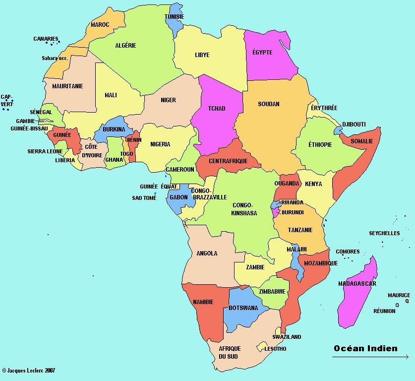 Super Afrique-carte-de-l-Afrique-Afrique du Sud Angola Bénin Botswana  WB17