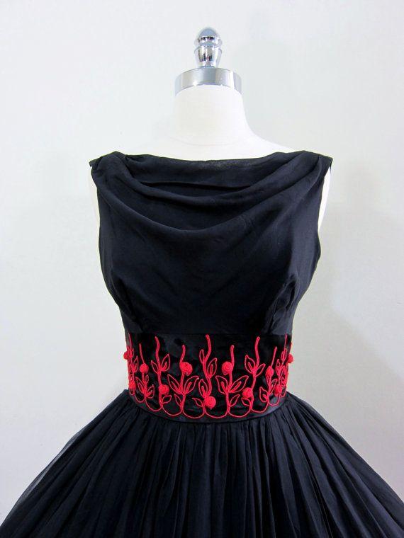 ON SALE Gorgeous 1950s Black Silk Chiffon by FirstLoveLastLove