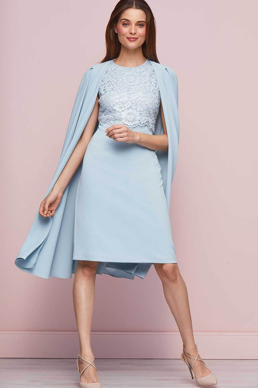 Sky Blue Kneelength Wedding Guest Dresses outfits