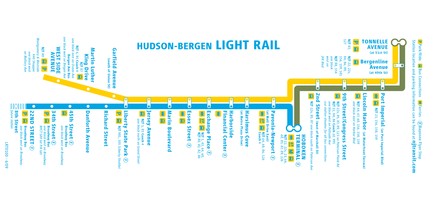 Light Rail Nj Map LIGHT RAIL MAP NJ | Hoboken Resources & Services | Light rail