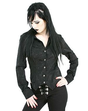 Bat Black Brocade Aderlass blouse #goth #gothic