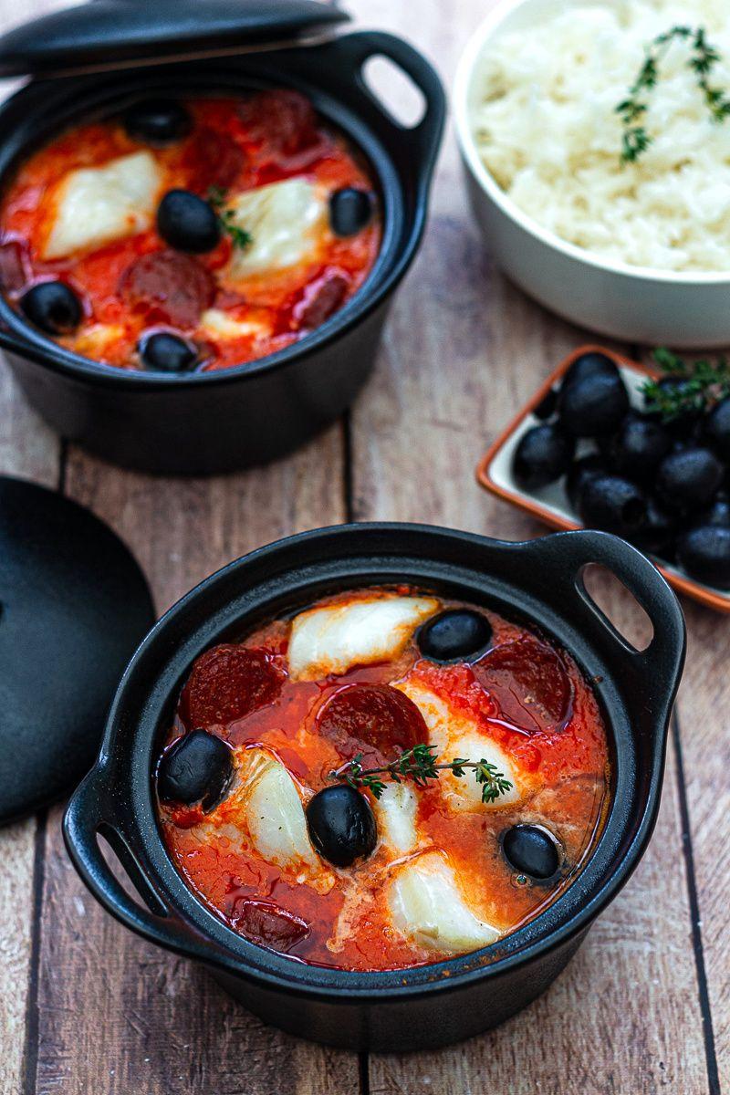 Cocotte de cabillaud et chorizo au coulis de poivron rouge