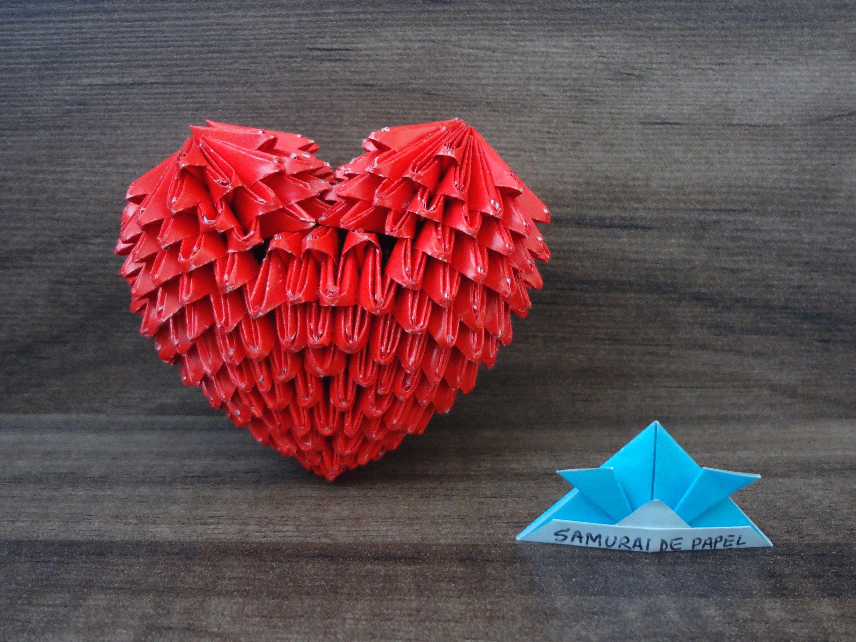 Origami 3D - Coração - Heart | Samurai de Papel ... - photo#12