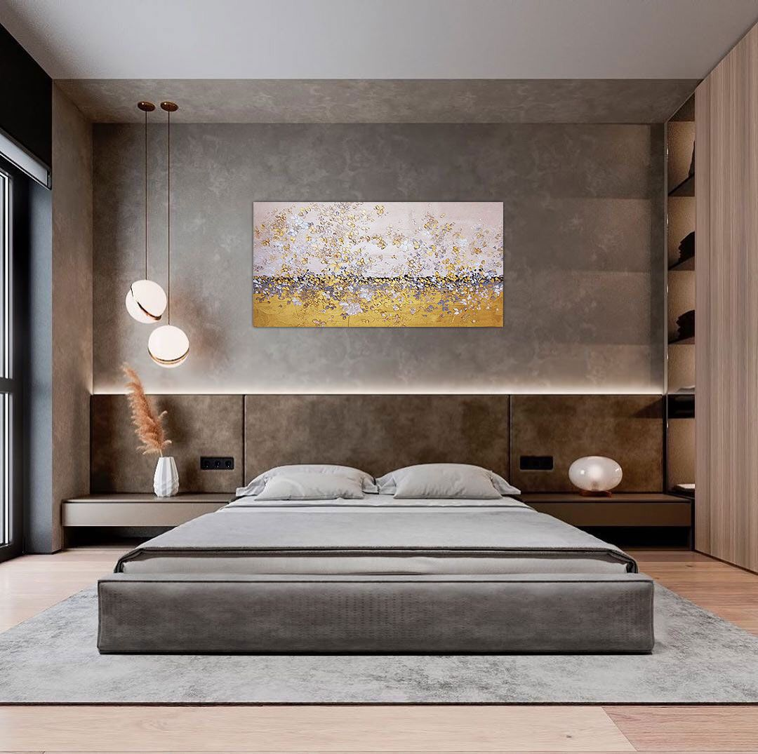 Gold Leaf Painting Gold Abstract Art Modern Landscape Painting On Canvas Metallic Gold Flowers Painting Gold Texture Art White Gold Painting Bedroom Bed Design Luxurious Bedrooms Bedroom Design Art sample bedroom furniture