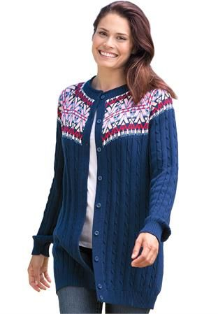 Plus Size Sweater, Fair Isle cardigan style with rib and cable ...
