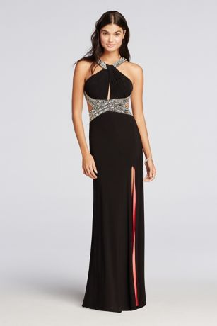 Haltered Jersey Prom Dress with Coral Lining Style A17571 ...