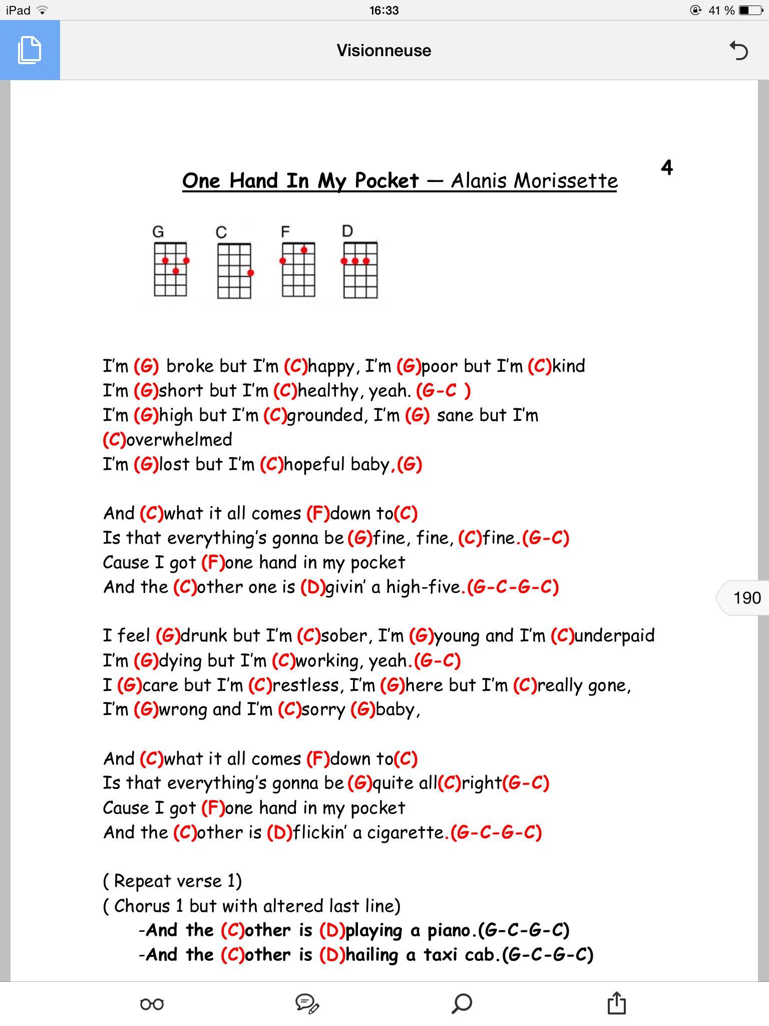 One hand in my pocket ukulele pinterest songs guitars and one hand in my pocket hexwebz Gallery