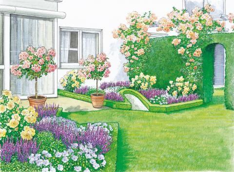 reihenhaus terrasse sch n eingefasst garden. Black Bedroom Furniture Sets. Home Design Ideas