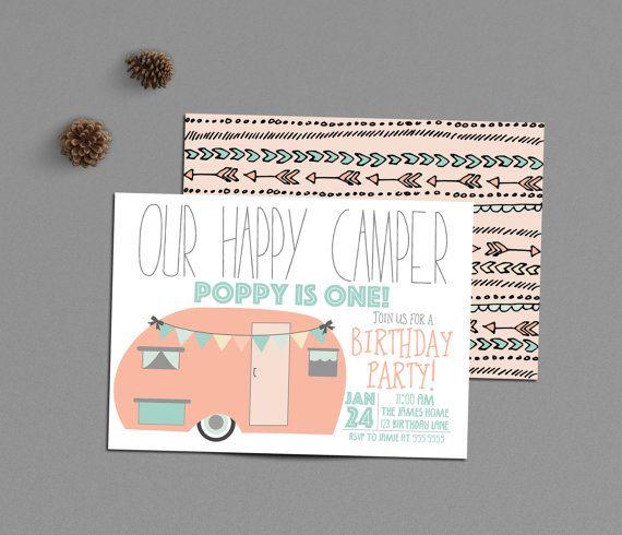 Happy Camper Birthday Invitation Girl Camping By INVITEDbyAudriana
