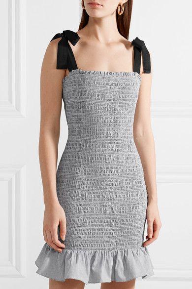 Luella Grosgrain-trimmed Shirred Cotton Mini Dress - Gray Rebecca Vallance Excellent Cheap Online smKznobp