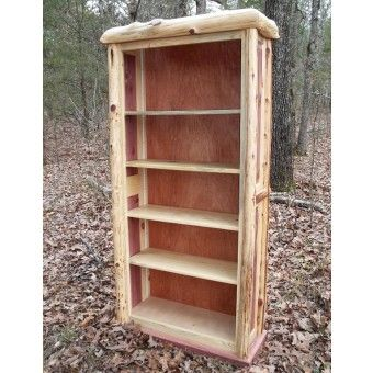 Red Cedar Rustic Log Bookcase Jhe S Log Furniture Place Rustic Log Furniture Cedar Log Log Furniture
