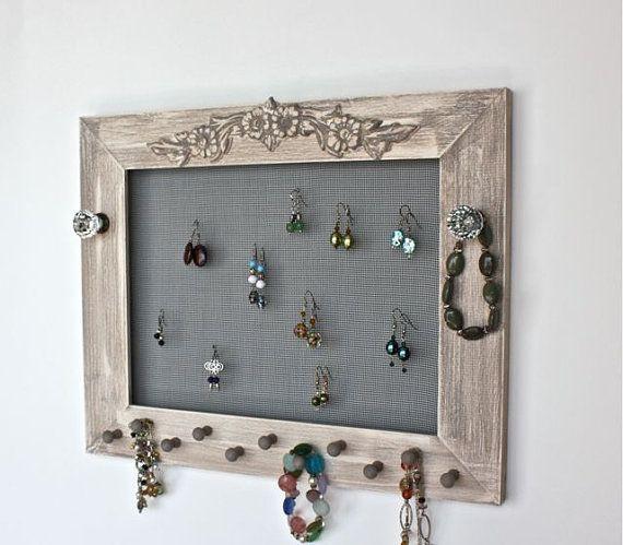 Wood Frame Jewelry Holder Organizer for Earrings Bracelets