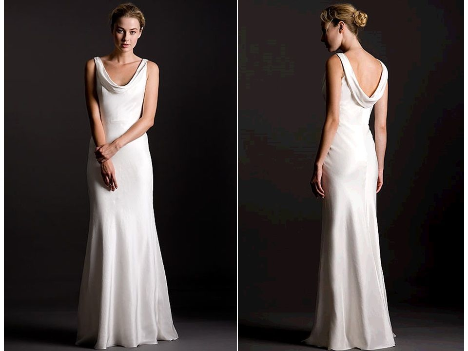 Cowl Neck Wedding Dress, Minimalist