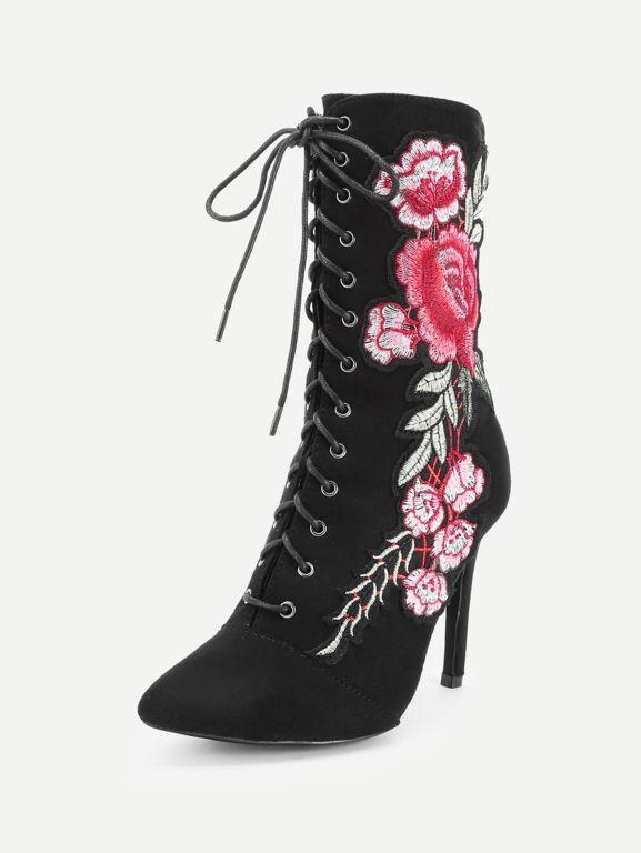 pointues avec broderies roses Noir des de Bottines tdCQshr