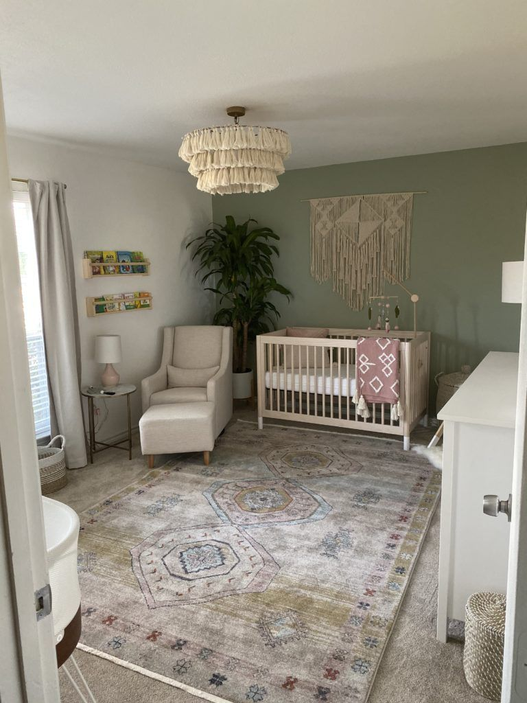 Calming Boho Chic Nursery In 2020 Green Baby Room Green Accent