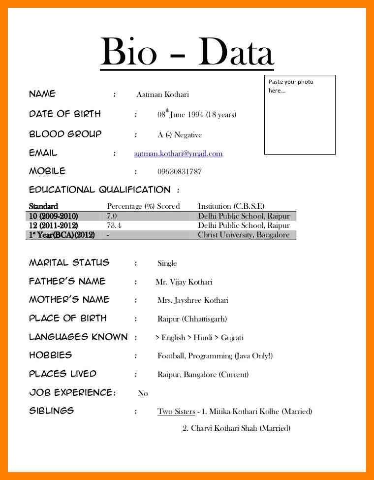 Job Biodata Beautiful Biodata For Job Petitingoutpoly