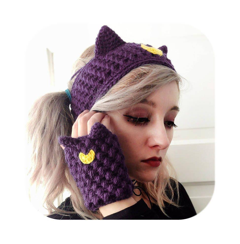 d292a8788fb Kawaii adorable luna cat sailor moon headband and fingerless gloves set -  ear warmer - fingerless mittens mitts - vegan - winter gift set by  HELLOhappy on ...