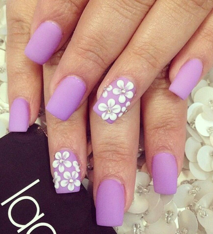 Lilac Matte Purple Nails With White Flowers Nail Art In