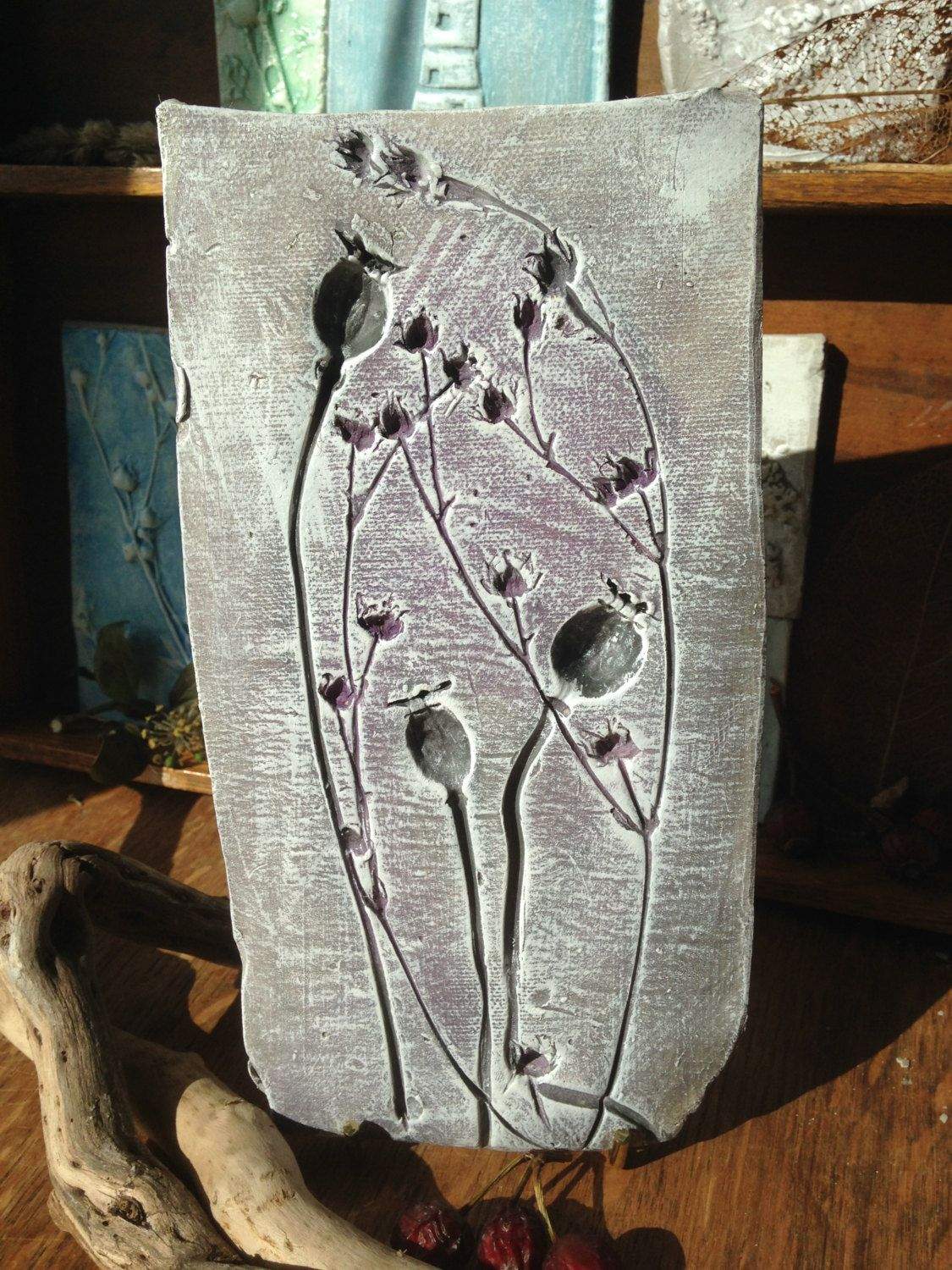 Rustic Clay Wall Art Plaque Tile Natural Poppy Seed