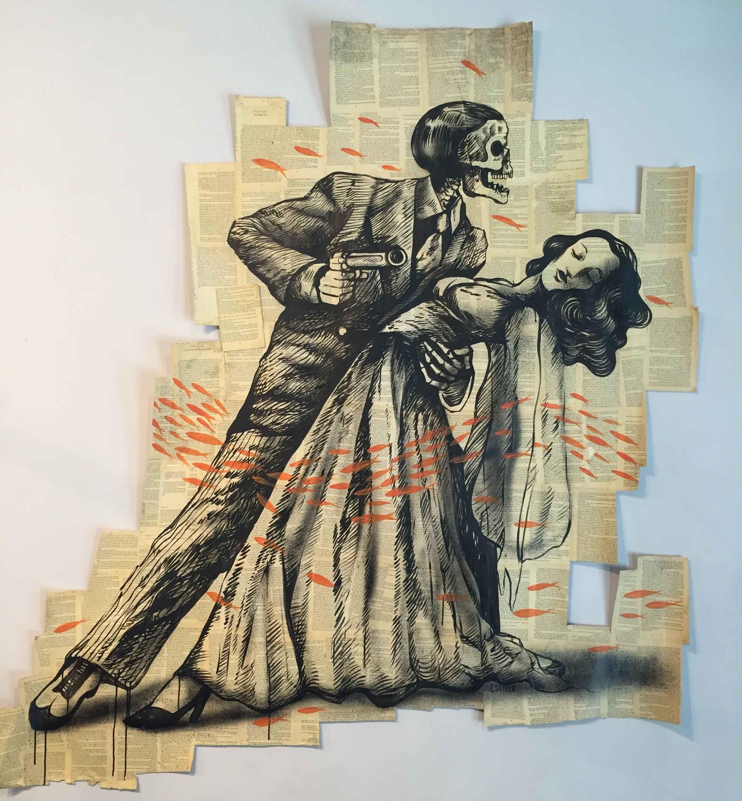 1.AleSenso, Der Todes Tanz Poster, 2014,collage (inchiostro e spay su carta, pagine di libro antico), cm 170 x150 ca #art #streetart #artist #gallery