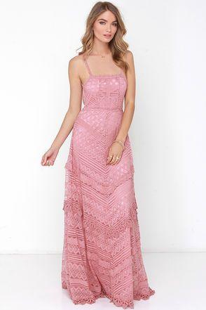 35c0dc0b5f9 Lovely Dusty Rose Dress - Lace Dress - Maxi Dress - Backless Dress -  69.00