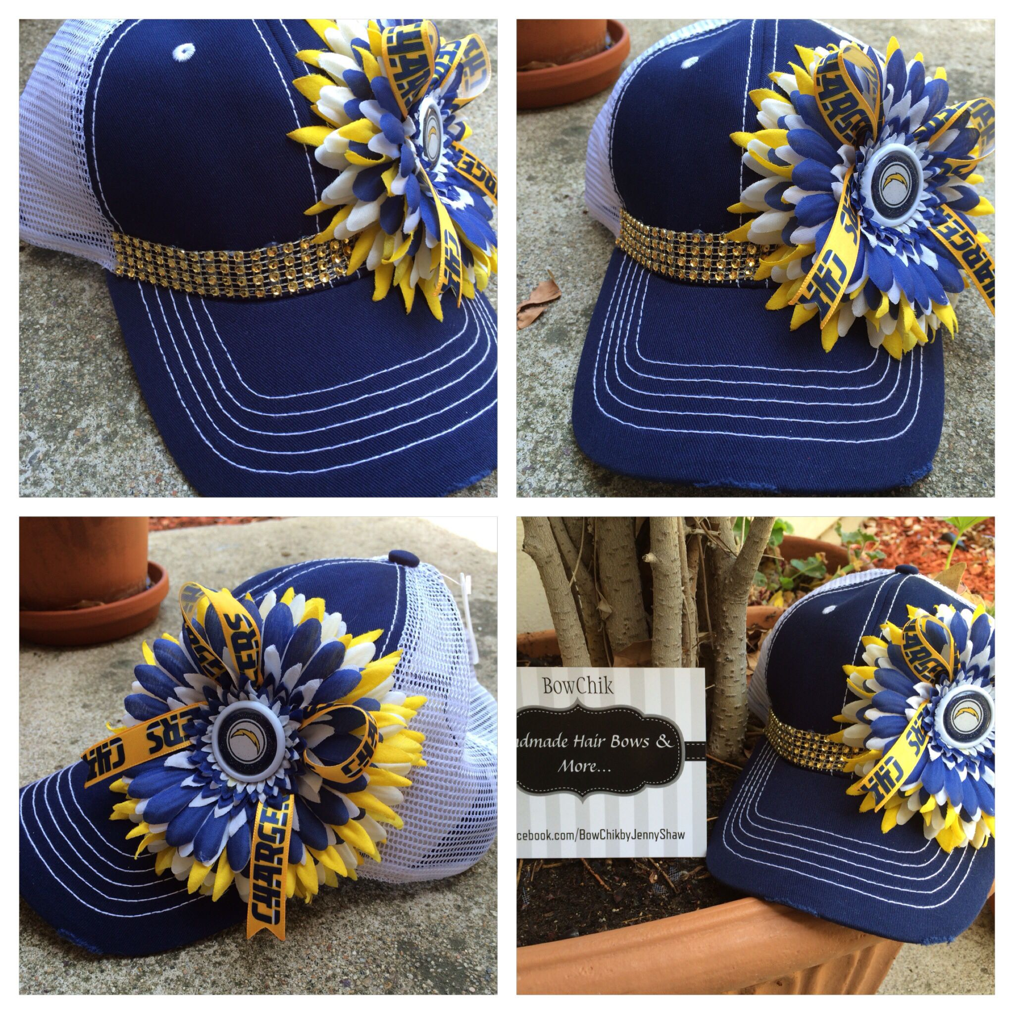 "Embellished ""trucker style"" SD CHARGER hat.. One size fits all, adjustable Velcro back $27.00 shipped.  www.facebook.com/BowChikbyJennyShaw"