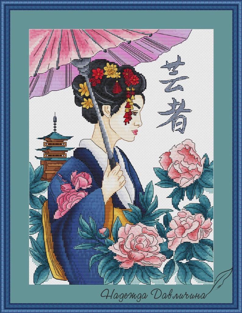 Geisha Girl B//W Cross Stitch Chart BUY 1 GET 1 HALF PRICE