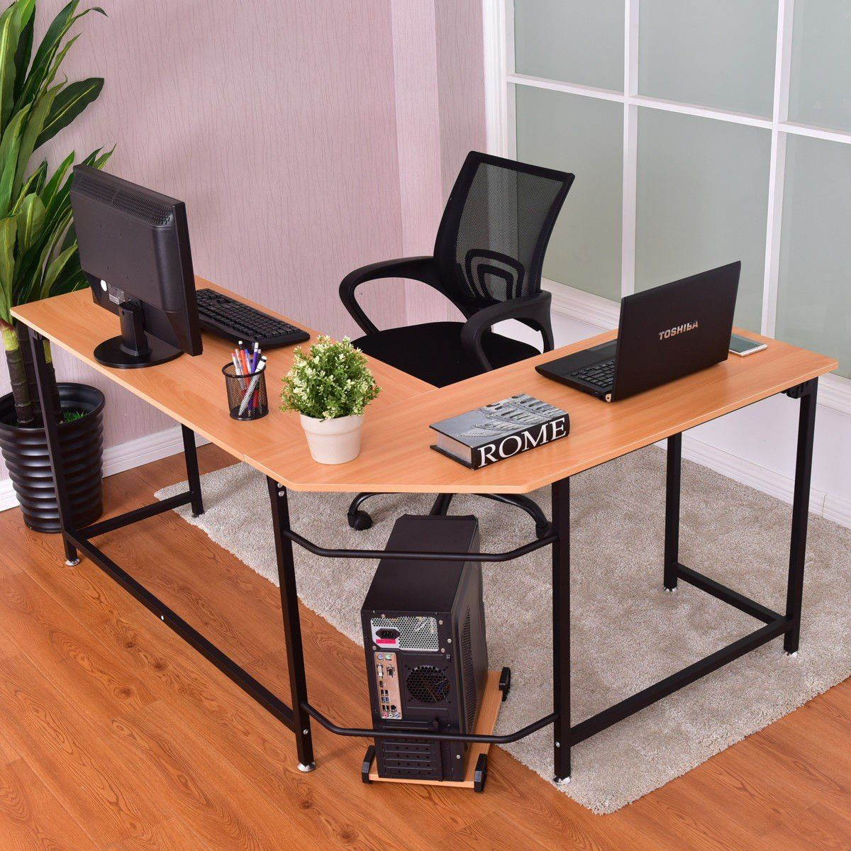 Home Office L Shaped Corner Study Computer Desk This Large L Shaped Computer Desk In A Simple Design Pro Cheap Office Furniture Pc Desk Unique Office Furniture