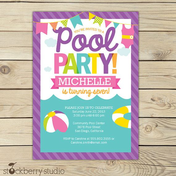 Printable Watercolor Pool Party Birthday Invitation – Pool Party Invite Template