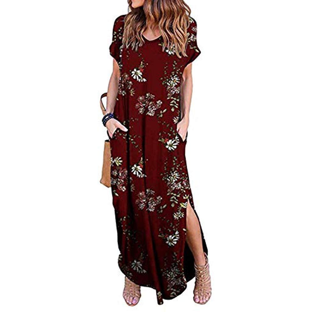 Zilcremo Damen Strandkleid Bohemian Lang Kleid Sommerkleid Kurze