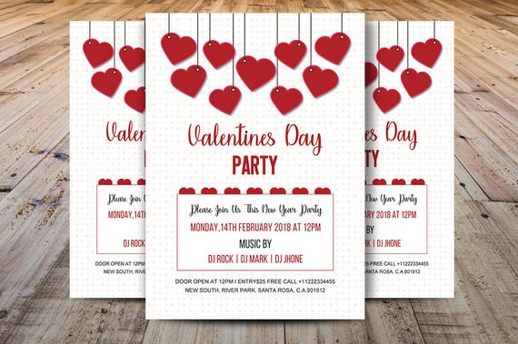 Valentine S Day Party Flyer Valentines Day Party Etsy Party Invite Template Valentines Day Party Valentine Invitations