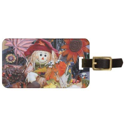 #Thanksgiving Rag Doll Amongst Autumn Harvest Scene Luggage Tag - #travel #accessories