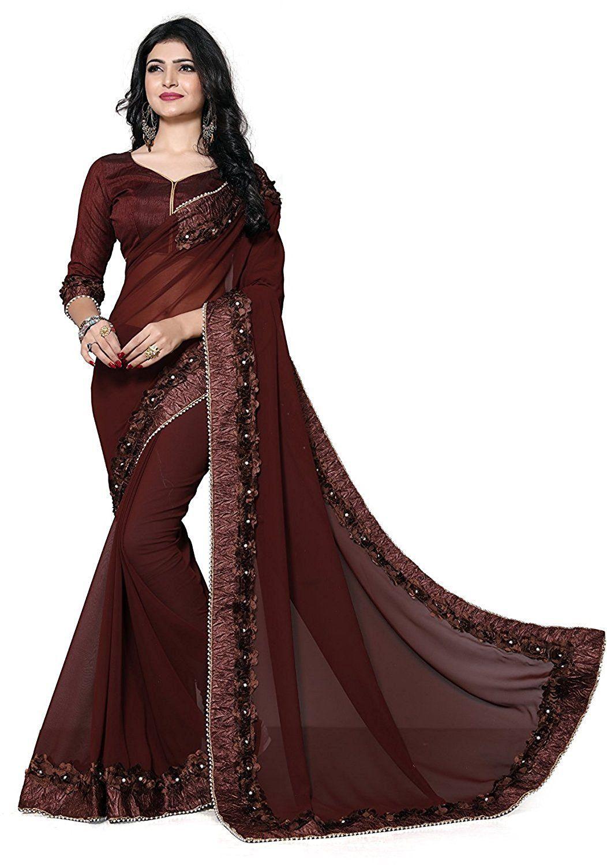 dd78aa8028 Culture Fab Women's Georgette Embroidered SareeSaree Fabric: Georgette | Blouse  Fabric: Banglory Silk | Saree Work: Ribbin Embroidered | Blouse Work:  Ribbin ...