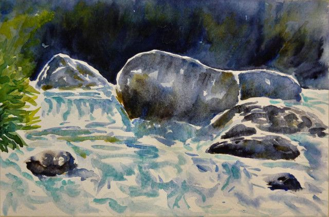 Yuba River rapids near Hall's Ranch September 2016 - Margaret Parker Brown - plein air watercolor on Saunders 200# 7 x 9 inches