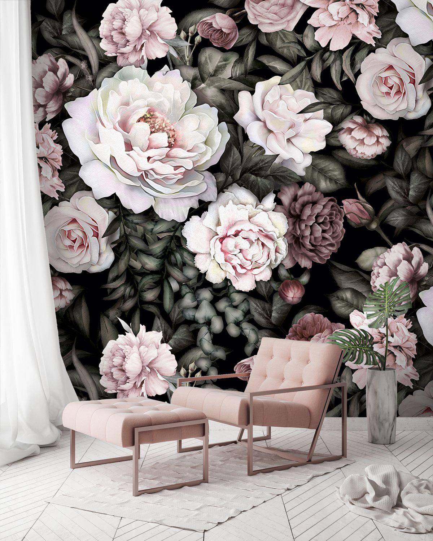 Tapete Fototapete Blumen weiß Rose Aquarell Blätter Fläche